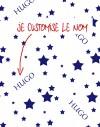 Tissu nom personnalisé étoiles en bleu sur blanc