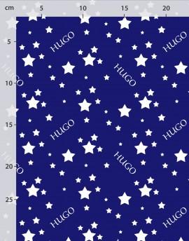 Tela personalizada con nombre estrellas blancas sobre azul, algodón orgánico o lino