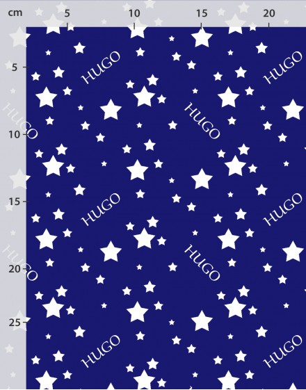 Custom name fabric white stars on blue organic cotton or linen