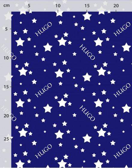 Tissu nom personnalisé étoiles en blanc sur bleu coton bio ou lin
