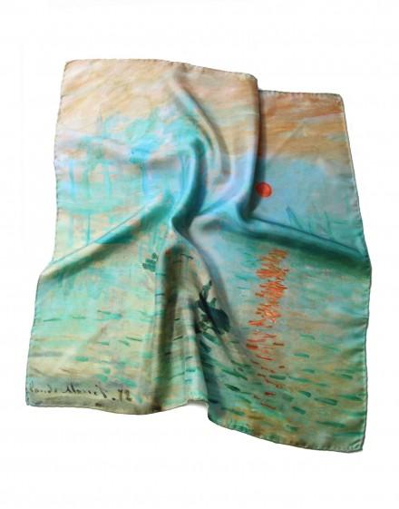 Foulard carré en soie Claude Monet Impression Soleil Levant