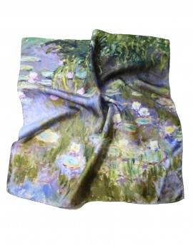 Foulard carré en soie Claude Monet Nympheas