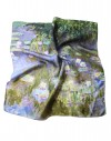 Square Silk Scarf Claude Monet Water Lilies hand rolled mulberry silk
