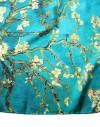 Foulard carré en soie Van Gogh Amandier en Fleur