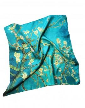 Foulard carré en soie et masque en coton Van Gogh Amandier en Fleur