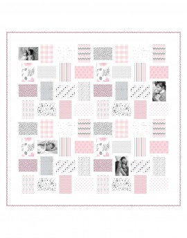 Customised patchwork child quilt kit with 12 photos and name