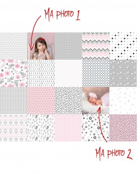 Tela para patchwork Charm Pack personalizado, rosa y gris