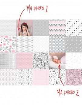 Tissu patchwork Charm Pack personnalisé de vos photos - rose et gris