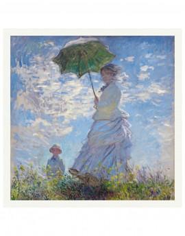 Pañuelo de seda estampado Monet Mujer con Parasol 120x120 cm