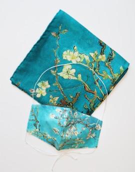 Square Silk Scarf Van Gogh Blossoming Almond Tree