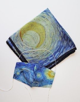 "Square silk scarf Van Gogh - Starry night - 90x90 cm (36x36"")"