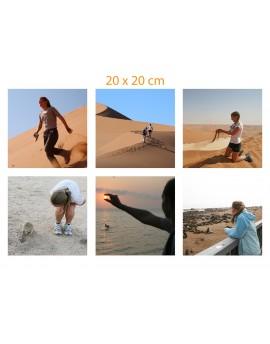 Vos photos imprimees sur tissu de coton bio - de 6 images carrées 20x20 cm