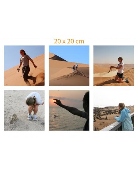 Sus fotos impresas en tela de algodón - Panel de 6 fotos de 20x20 cm