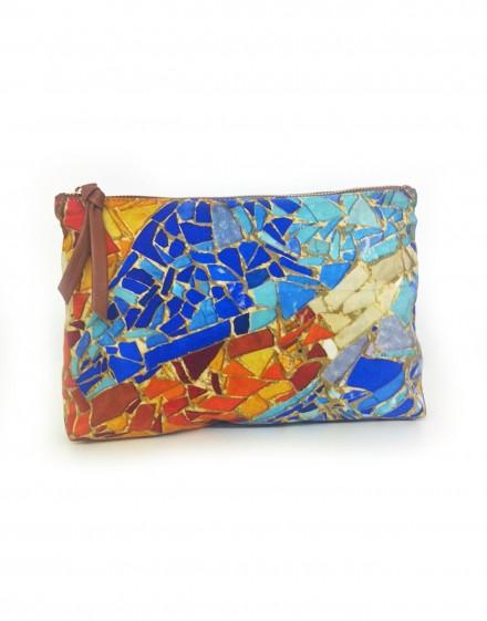 Pochette Gaudi mosaique bleue orange en soie