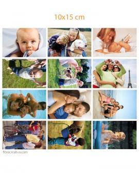 Sus fotos impresas en tela de algodón - 12 fotos de 10x15 cm
