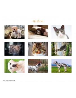 Panel de fotos impresas en tela de algodón bio - 9 fotos 12x18 cm