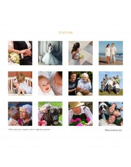 Vos photos imprimees sur tissu de coton bio - 12 photos 12x12 cm