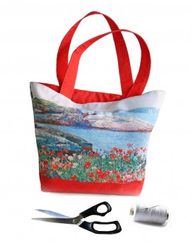 Kit sac cabas paysage marin aux coquelicots
