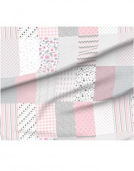 Quilting precut - 18 small prints in pink, grey, white