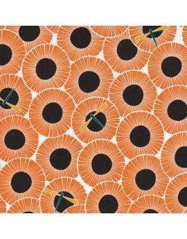 Tela ecológica Across the Pond Aster Pumpkin de Cloud9 Fabrics