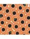 Organic fabric Across the Pond Aster Pumpkin by Cloud9 Fabrics