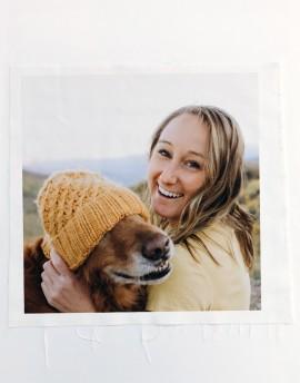 Votre photo imprimée sur toile de coton ou lin - carré