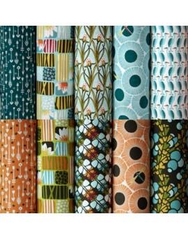 Lote de 10 fat quarters tela ecológica Across the Pond de Cloud9 Fabrics