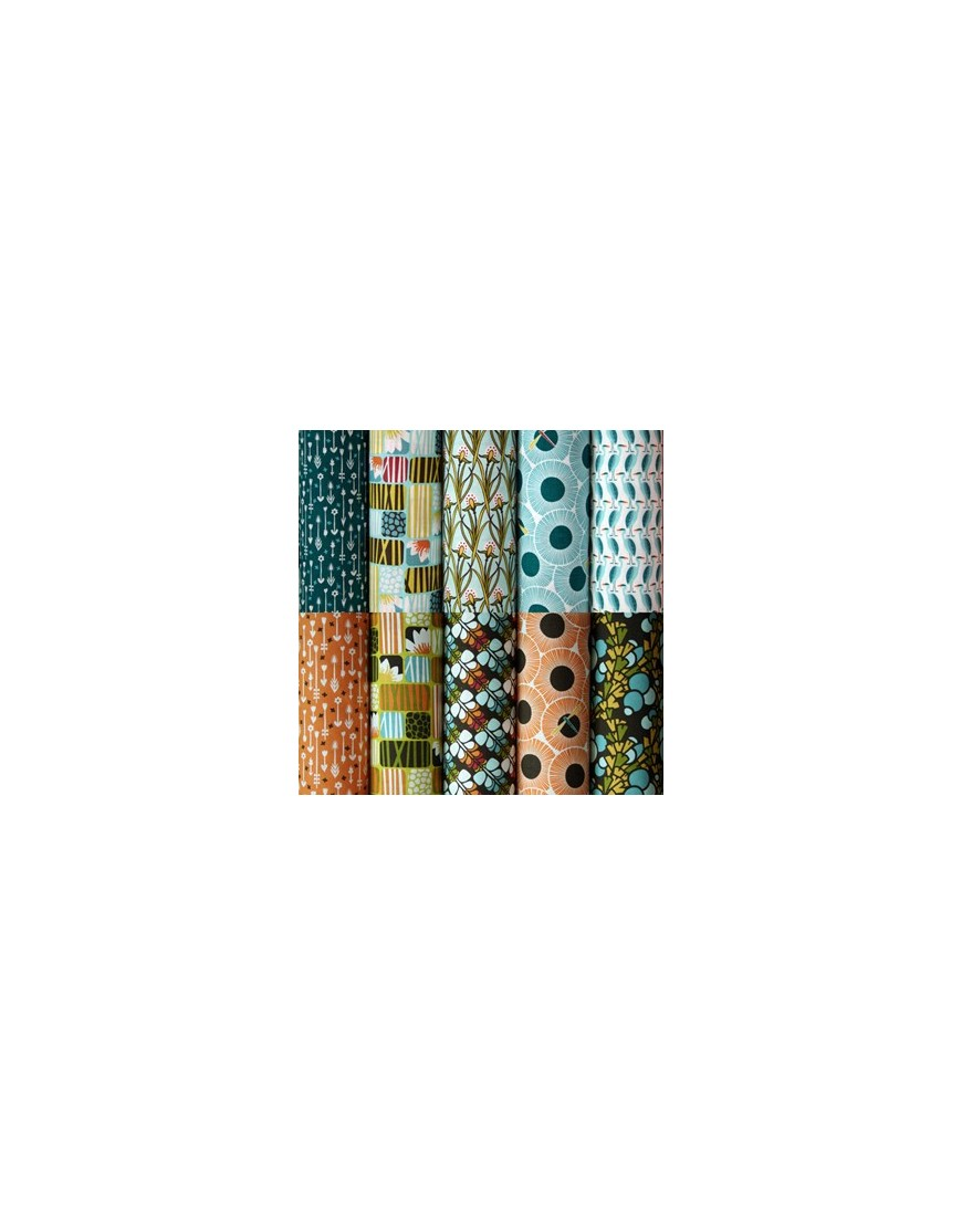 10 Fat Quater Bundle Organic Fabric Across The Pond By