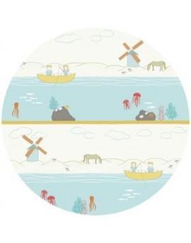 Tela ecológica infantil Shoreline de Birch Fabrics - retal