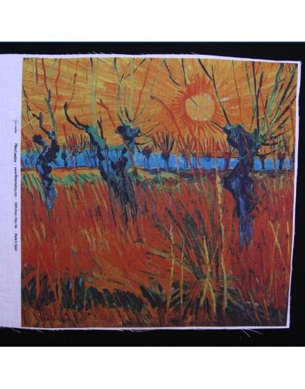 Coupon lin imprimé Van Gogh - Saules au coucher du soleil