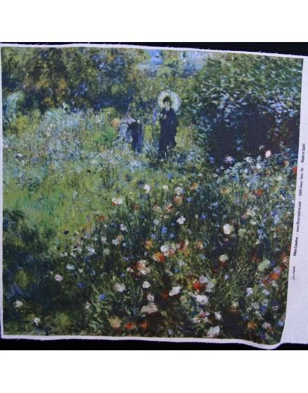 Lin imprimé Renoir - Femme avec un parasol