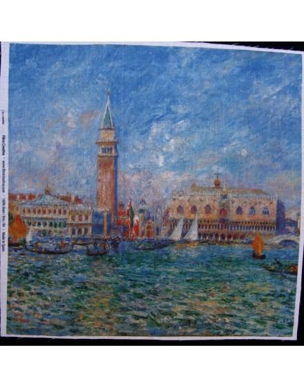 Lin imprimé Renoir - Vue de venise, le Palais de Doges