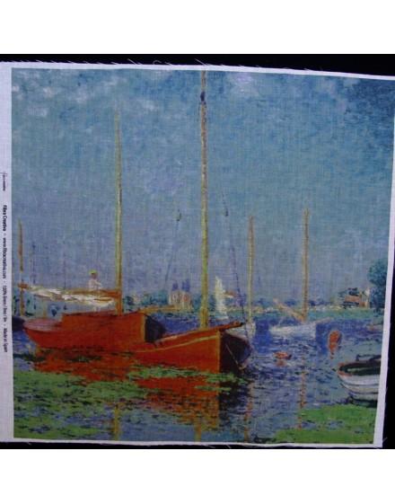 Lin imprimé Monet - Bateaux rouges