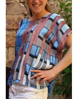 Blusa o vestido de seda estampado personalizado