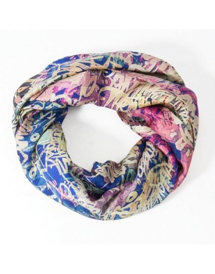 Silk circle scarf Pink Graffiti