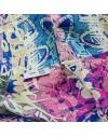 Fular circular de seda Graffiti rosa