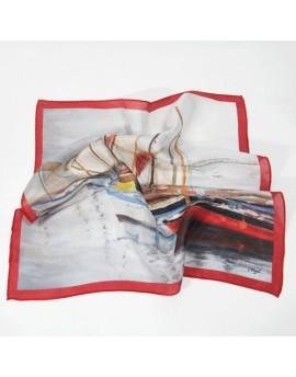 Foulard tour de cou en soie - Bateaux, rouge
