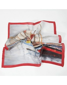 Silk neck scarf - Sailboats, red
