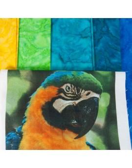 Kit de patchwork Amazonas - 5 batiks y 3 fotos estampadas 18x18cm - Fibra Creativa