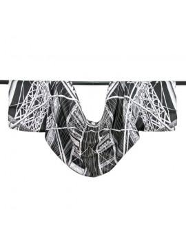 Estola-bolero de seda - Estructura en blanco y negro