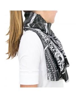 Etole-boléro en soie - structure, noir et blanc