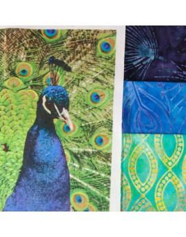 Kit de patchwork Pavo real - 3 batiks y 3 fotos estampadas 18x18cm - Fibra Creativa