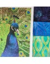 Kit de patchwork paon Royal - 3 Batiks et 3 photos - Fibra Creativa