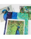 Fiber art Kit Peacock - 3 batik FQ and 3 printed photos 18x18cm