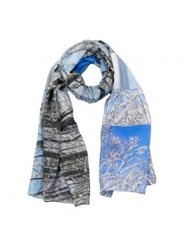 Silk Scarf snowy trees in winter blue, grey, white