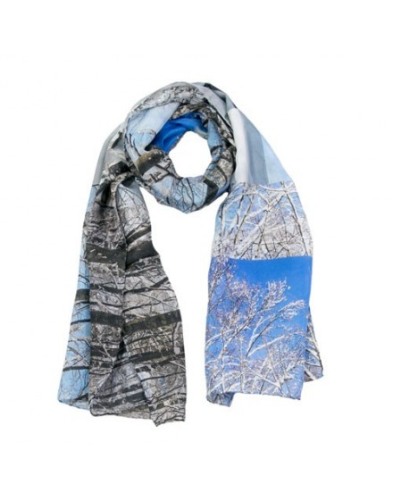 Snow branches silk scarf