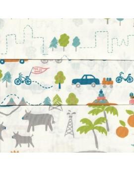 Lote de 3 fat quarters, tela ecológica infantil Next Stop de Birch Fabrics