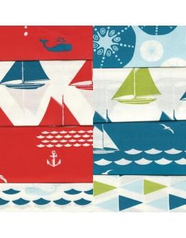 8 fat quater bundle organic children fabric Set Sail by Birch Fabrics
