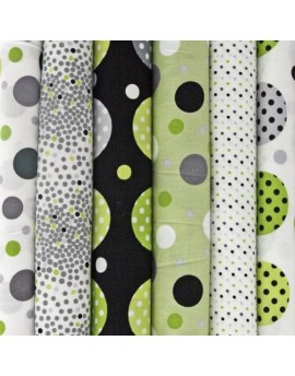 Lote de 6 fat quarters, tela de algodón Contempo Dots de Kensington