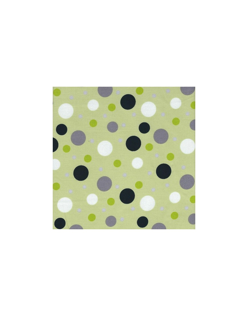 Cotton fabric Contempo Dots Kensington - Black Lime polka dots ...